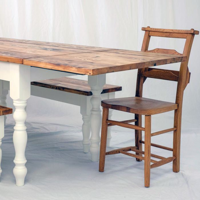 Victorian Style Farmhouse Table 3ft Rustic Dining Table