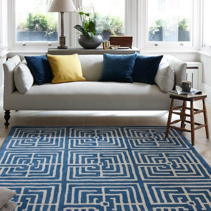 Maze Rug Tufted Blue And Ivory Patterned Wool Rug