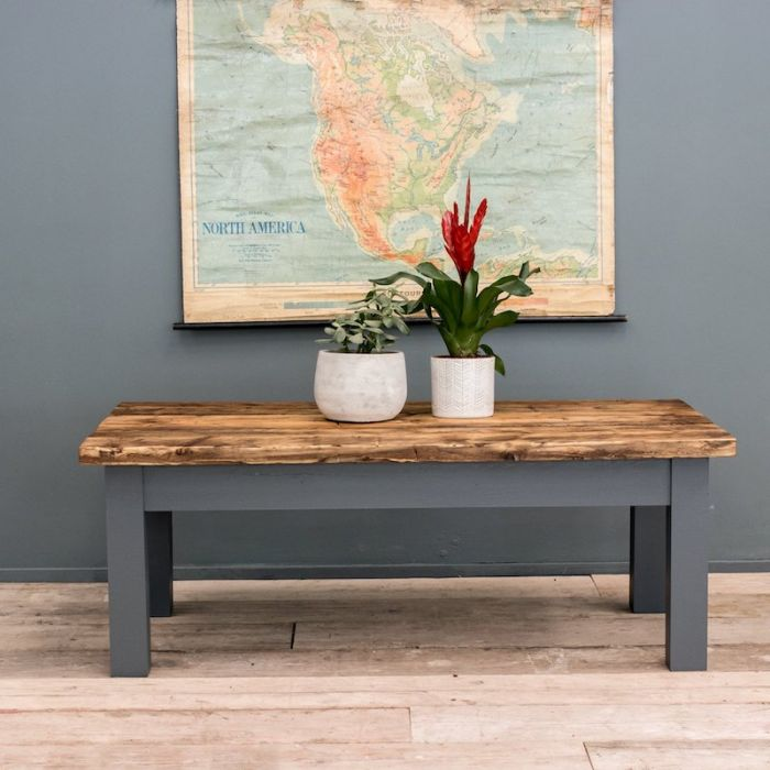 Victorian Style Coffee Table With Vintage Reclaimed Planks And Square Straight Legs
