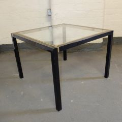 Black and Gold Coffee Table with Toughened Glass Top