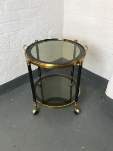 Brass & Smoked Glass Circular Drinks Trolley