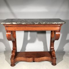 19th Century Antique French Mahogany Original Marble Scrolled Legs Console Table