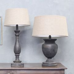 Handmade Raku Table Lamp Distressed Black Mango Wood