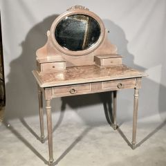 Antique French Limed Oak Original Marble Dressing Table