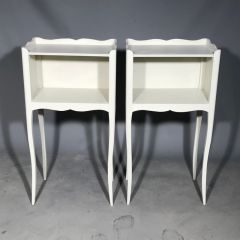 Antique French Louis Side Tables Elegant Painted White