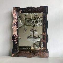 Antique Venetian Rose Glass Mirror Floral Bevelled Frame