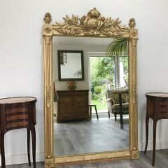 Antique Victorian French 19th Century Gilt Overmantle Mirror Original