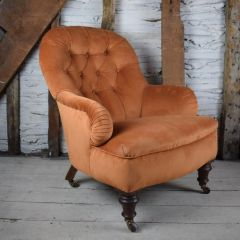 Antique Burnt Orange Velvet Button Back Armchair