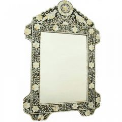 Black Mother of Pearl Bird Floral Mirror