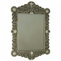 Black Mother of Pearl Inlaid Scalloped Mirror