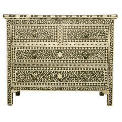 Black Bone Inlay Floral Chest of 4 Drawers