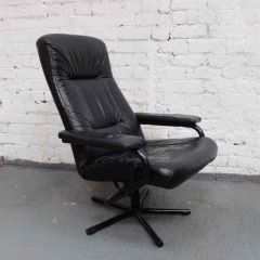 Black Leather Revolving Reclining Arm Chair