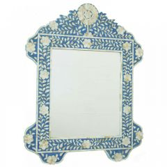 Blue Mother of Pearl Floral Mirror