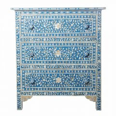 Blue Mother of Pearl Compact Chest of 3 Drawers