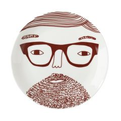 Ceramic Bone China Hand Decorated Bearded Face Plate