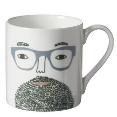 Ceramic Bone China Hand Decorated Bearded Man Face Mug