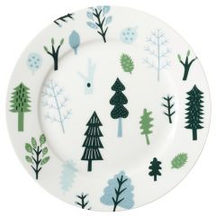 Ceramic Bone China Hand Decorated Forest Large Dinner Plate