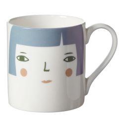 Ceramic Bone China Hand Decorated Womans Face Mug