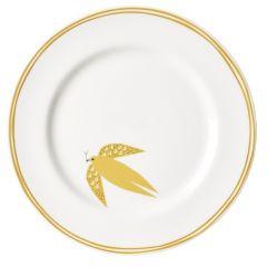 Ceramic Bone China Hand Decorated Yellow Dove Dinner Plate