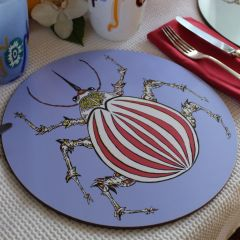 Melamine Eucalyptus Cork Printed Beetle Red Blue Patterned Placemat
