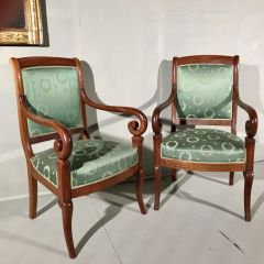 Pair of French Empire Open Armchairs