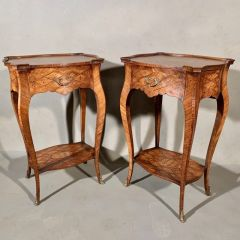 Pair of French Marquetry Lamp Tables