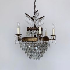 FRENCH WATERFALL CHANDELIER WITH CRYSTAL ICEBERG DROPS