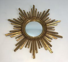 1970s French Gilt Sunburst Mirror