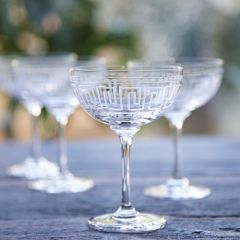 Set of 6 'Greek Key' Champagne Glasses