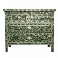 Forest Green Mother of Pearl Chest of Drawers