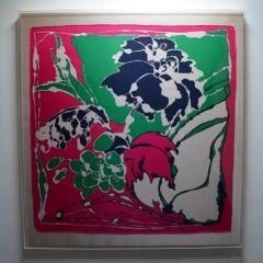 Green & Pink Floral Vintage Framed Scarf