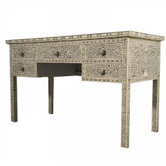 Grey Bone Inlay Floral Desk with Drawers