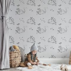 Little Bunny Wallpaper - Grey