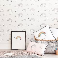 Rainbow Love Wallpaper - White