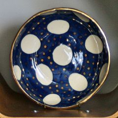 Handmade Ceramic Large Navy and Gold Bowl
