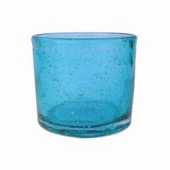 Handmade Hand Blown Bubble Glass Unique Pack of 6 Tea Lights Lagoon Blue