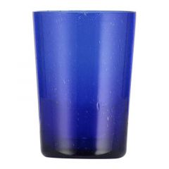 Handmade Hand Blown Bubble Glass Unique Tumbler Cup Dark Blue