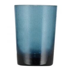 Handmade Hand Blown Bubble Glass Unique Tumbler Cup Mineral Blue
