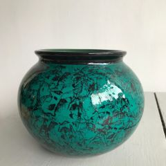 Handmade Hand Decorated Green Black Patterned Pottery Bowl