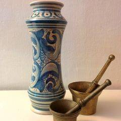 Handmade Hand Painted Blue White Motif Vase