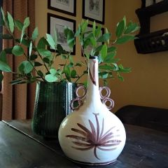 Handmade Hand Painted Clay Flask Vase