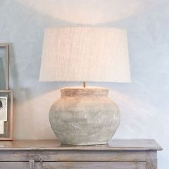Handmade Terracotta Table Lamp Natural Tone