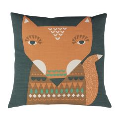 Handmade Cotton Fox Cushion Reversible Orange