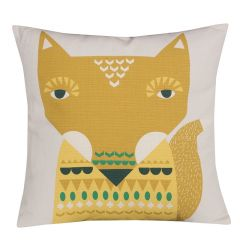 Handmade Cotton Fox Cushion Reversible Yellow
