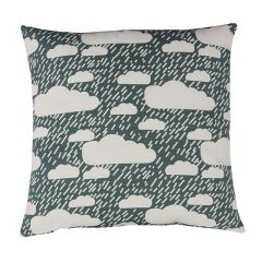 Handmade Cotton Reversible Cloud Rain Cushion Blue