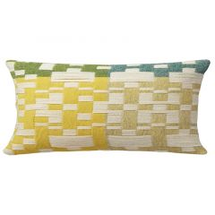 Handmade Woven Lambswool Patterned Green Yellow Patched Long Cushion