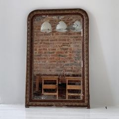 HEAVILY TARNISHED 19TH CENTURY FRENCH LOUIS PHILIPPE GILT MIRROR