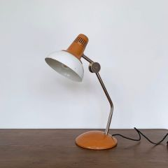 INDUSTRIAL 1960S ORANGE METAL DESK LAMP