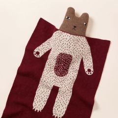 Lambswool Cotton Soft Baby Blanket Burgundy Bear