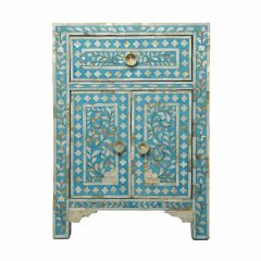 Light Blue Mother of Pearl Bedside Cupboard
